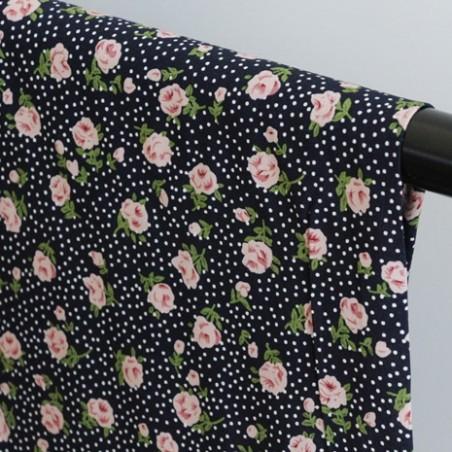 Tissu Viscose Rose - marine