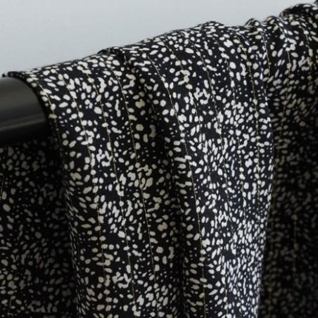 Tissu Viscose imprimée noir - Annie