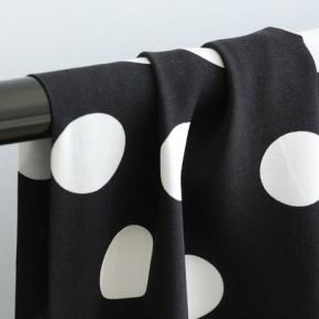 Tissu Viscose noire gros pois blanc