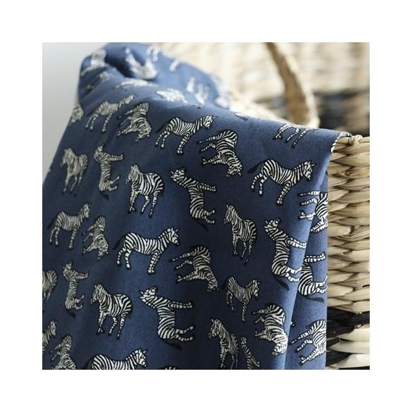 Popeline de coton Zèbre - bleu