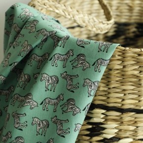 Popeline de coton Zèbre - vert