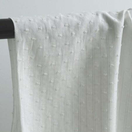 Coton Plumetis blanc et rayures lurex