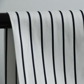 Satin de coton stretch - white navy