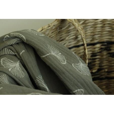 tissu double gaze ginkgo - kaki