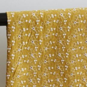 Coton brodé fleurs - ocre