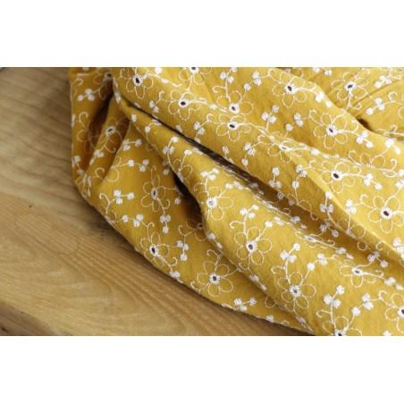 tissu coton brodé fleurs - ocre