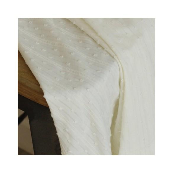 Coton brodé rayures et plumetis - Noélie
