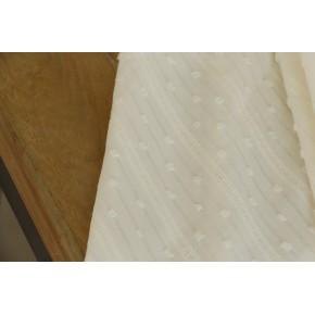 tissu brodé écru rayures et plumetis
