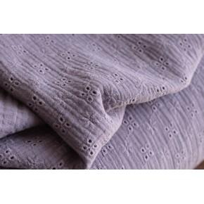 tissu double gaze brodée - lilas