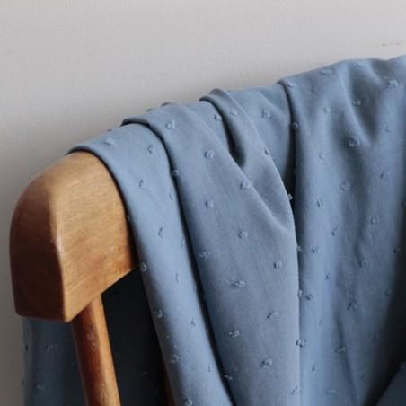 Coton Plumetis bleu