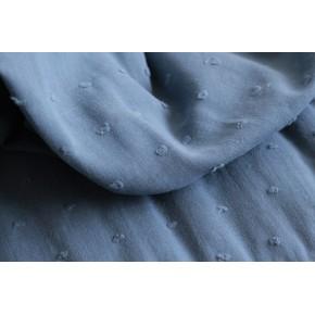 tissu coton plumetis - bleu