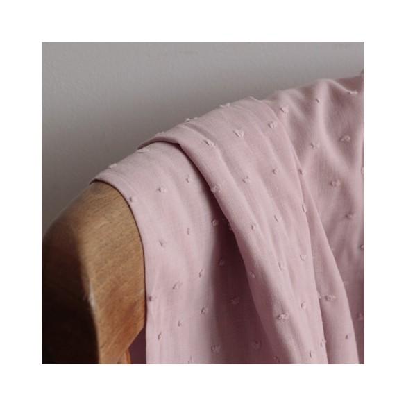 Coton Plumetis vieux rose