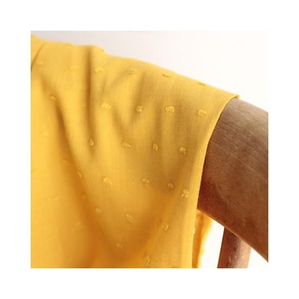 Coton Plumetis moutarde