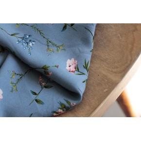 viscose bleu à fleurs