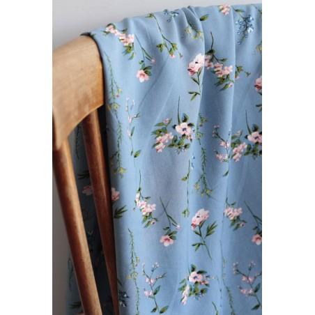 viscose fleurie - bleu