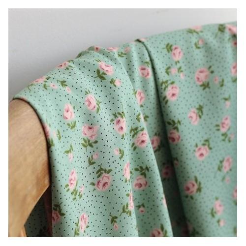 Tissu Viscose Rose - vert tendre