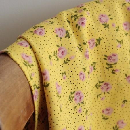 Tissu Viscose Rose - jaune