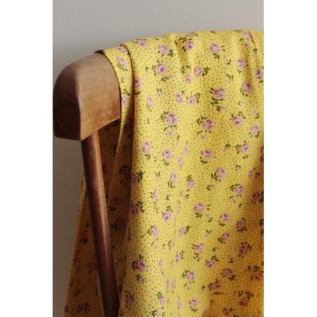 tissu viscose fleurs jaune