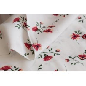 tissu fleurs blanc et rouge