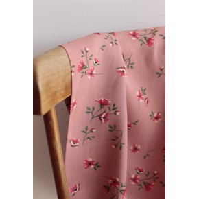 viscose fleurie - rose