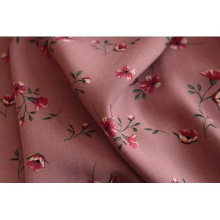 tissu fluide fleurie - vieux rose