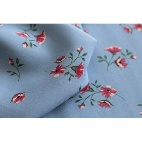 viscose fleurie vintage - bleu