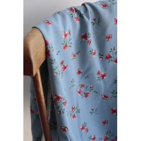 tissu viscose fleurs - bleu