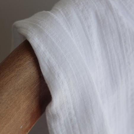 Coton brodé rayures - blanc