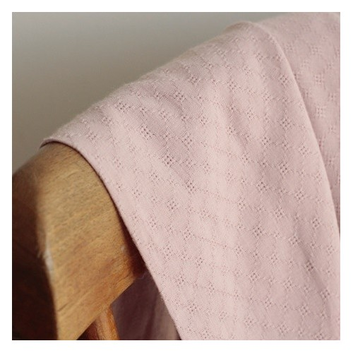 Coton brodé grid - vieux rose