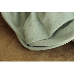 tissu coton brodé vert pâle