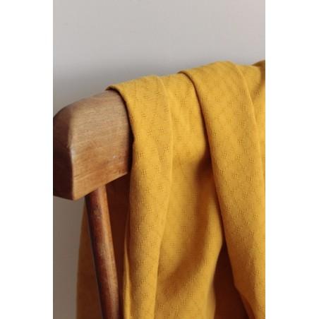 tissu coton brodé ocre