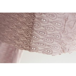 tissu coton brodé sidonie - vieux rose