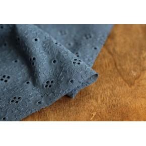 tissu broderie anglaise bleue - adelaïse