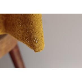tissu en coton brodé - moutarde