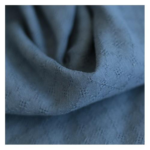 Coton brodé grid - bleu