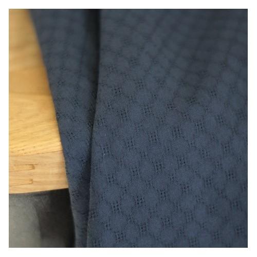 coton brodé grid - marine