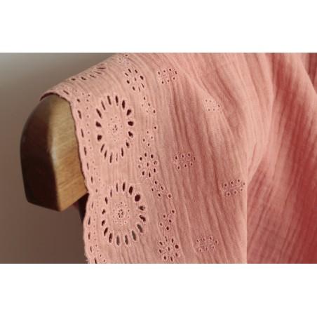 tissu en double gaze de coton - saumon