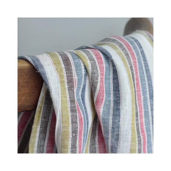 Tissu lin/viscose rayures - multico