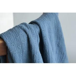 tissu en double gaze brodée - bleu
