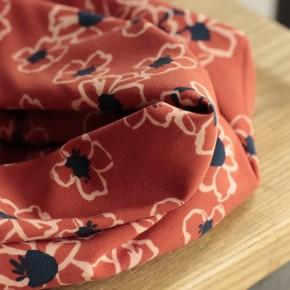 viscose imprimée fleurs - orange
