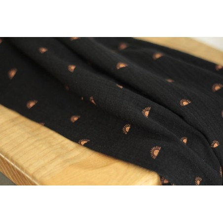 tissu en double gaze de coton bio - sun noir