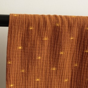 tissu double gaze imprimée en coton bio - caramel sun