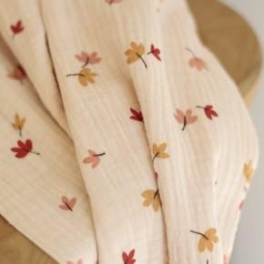 double gaze en coton bio imprimé feuilles