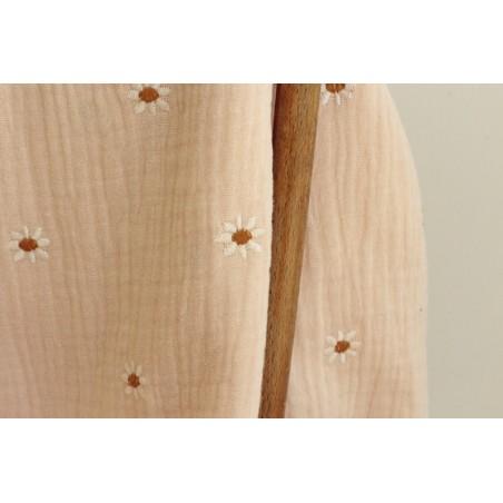 double gaze brodée de fleurs pâquerettes - rose nude