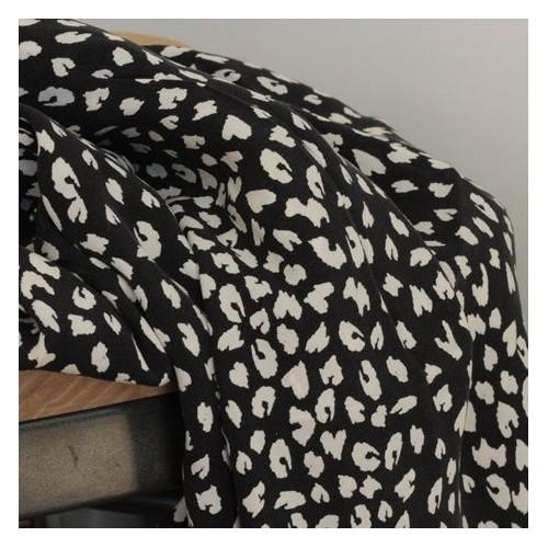 Tissu cupro/Viscose Laura - noir et écru