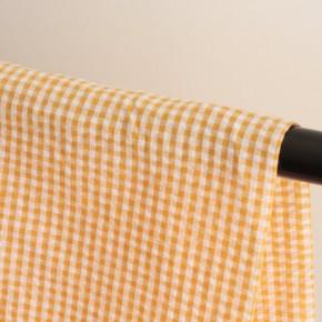 Seersucker coton vichy orange et blanc