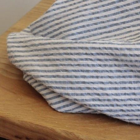 Seersucker rayures bleu et blanc