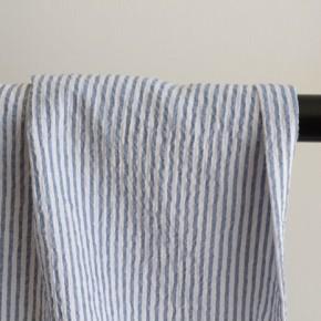 tissu rayures seersucker - blanc et bleu