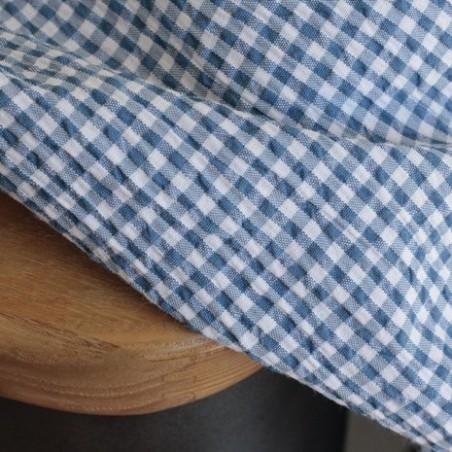 Seersucker vichy bleu et blanc