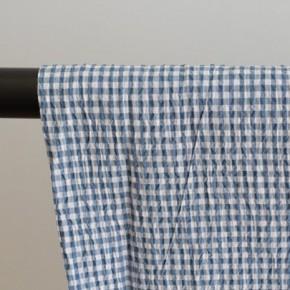 tissu seersucker bleu et blanc